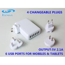 Universal 6 en 1 cargador USB (4 enchufes) con CE