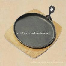 Rodada, ferro fundido, Sizzler, panela, removível, punho