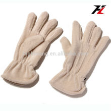 Milk white soft fleece gloves with five fingers for cycling