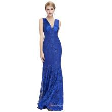 Starzz 2016 sans manches en V à encolure en V élégante robe de soirée bleue en dentelle bleue ST000084-2