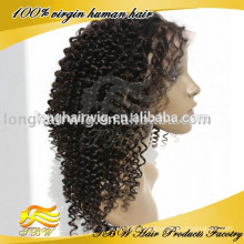Fashion mongolian hair hand tied wigs jerry curl Lace wig
