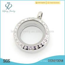 Antiguidade prata pingente jóias pingente, aço inoxidável moeda disco locket jóias pingente