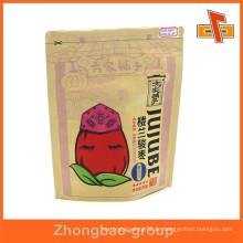 Feuchtigkeitsbeständiger kundenspezifischer Reißverschluss oben stehender Kraft brauner Papiertasche für Nahrung mit Ihrem Logo