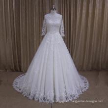 Ak003 Haute qualité jolie dentelle robe de mariée trimestre manches
