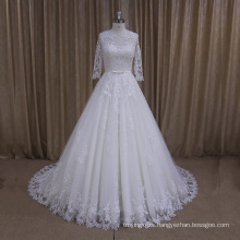 Ak003 High Quality Pretty Lace Wedding Dress Quarter Sleeves