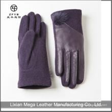Luva de couro de lã de palma de couro de moda com tela sensível ao toque