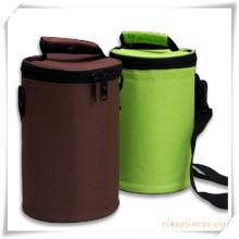 Saco cilíndrico do refrigerador de ombro / saco do almoço para a promoção