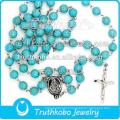 Jóias de alta qualidade religiosa aço inoxidável Mãe Mary e Jesus cruz colar com 8mm rosário TKB-N0153