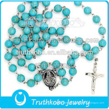 Hochwertige religiöse Schmuck Edelstahl Mutter Maria und Jesus Kreuz Halskette mit 8mm Rosenkranz TKB-N0153