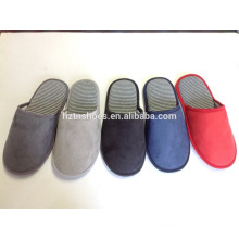 Basic men closed toe indoor slippers stripe jersey insock microfiber slippers indoor slippers