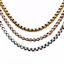 Collar al por mayor italiano de las cadenas de perlas esterlina del oro blanco para los hombres