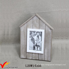 Small Wood Farmstead Chic House Shaped Photo Frame