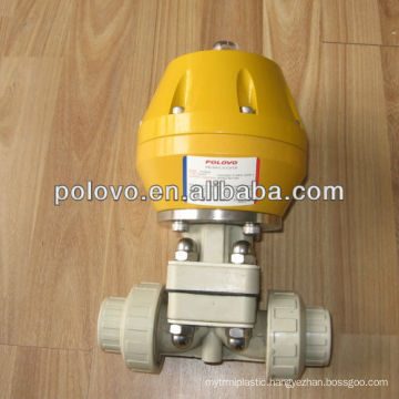 Double union plastic pph air actuated diaphragm valve