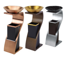 Stainless Steel Waste Bin for Lobby with Ashtray (YW0071)