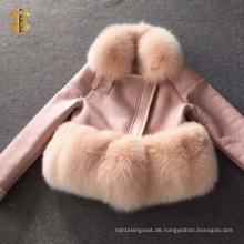 Neue angekommene nachgemachte Leder-Schaf-Pelz-Mantel-Frauen für Winter-Art- und Weisekleidung
