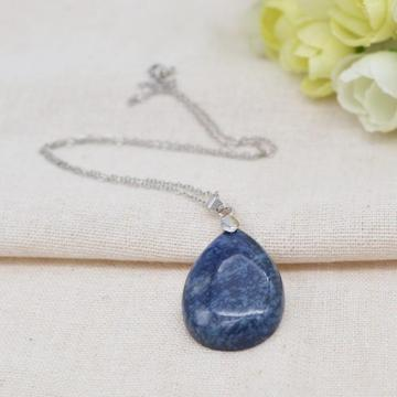 Natural 28x35MM Blue Aventurine Waterdrop Pendant Necklace