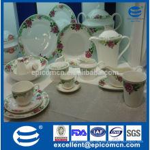 Türkisches Essgeschirr 86pcs feines Knochen Porzellan Geschirr mit Tee serviert Set und Terrine