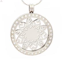 Venda quente de zircão moeda pingente de jóias, pingente de moeda intercambiáveis