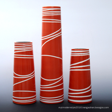 Orange Color Cylindrical Shape Painted Vase with Ceramic Material (PA02A)