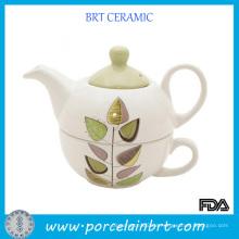 Großhandel White Leaf Logo Keramik billige Teekanne