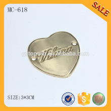 MC618 Logotipo feito à medida do metal da forma do coração para a roupa