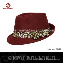 2015 Vino rojo mujeres damas sombrero fedora con decoración de leopardo