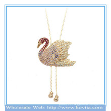 Wholesale 18k gold running swan shape sweater necklace 2014