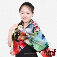 Super lange Schal Wolle Blume gedruckt Schal Damen Poncho