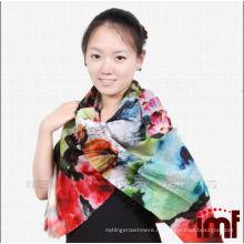 Супер длинный шарф шерсти цветок печатных платок дамы пончо