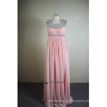 ED Bridal Real Sample A-line Scoop Neck Beaded Crystals Pleated Full Length Chiffon Party Dress