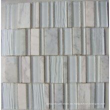 Nuevo mosaico de piedra blanca mezcla de vidrio mosaico (hgm373)