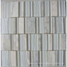 Nouvelle mosaïque en mosaïque en mosaïque de mosaïque en pierre blanche (HGM373)