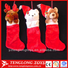 red animal christmas stocking for kids room decoration