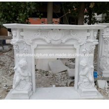 Child Statue Surface Carved Marble Fireplace (SY-MF218)