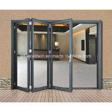 Двойное остекление Алюминиевое стекло Складная дверь / дверь двустворчатого типа