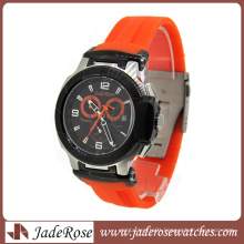High End Silicone Strap Stainless Steel Quartz Sport Watch