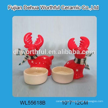 Wholesales Ceramic Reindeer Christmas candle holder
