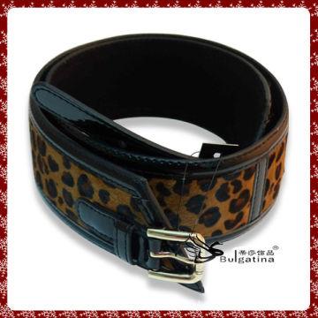 Beautiful horse hair style belt,fashion leather utility belt