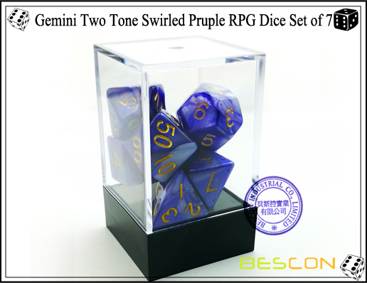 Gemini Two Tone Swirled Pruple RPG Dice Set of 7-2