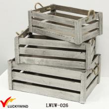 Grey Antique flor crate plantador de madeira com alça
