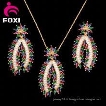 Dubai Design Jewelry Set d'oreille et pendentif pour femme