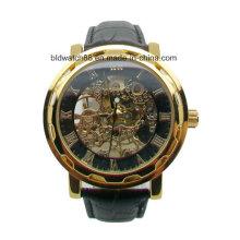 3ATM impermeável de aço inoxidável relógio mecânico automático pulseira de couro