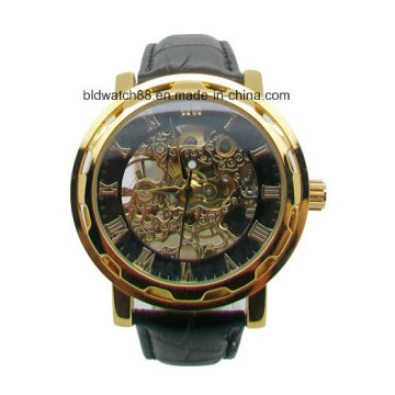 3ATM Waterproof Stainless Steel Automatic Mechanical Watch Leather Strap