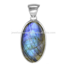 Flashy Labradorita piedras preciosas con plata esterlina 925 simple diseñador colgante de regalo