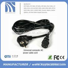 UE Cable de alimentación de CA de 3 clavijas de 3 clavijas adaptador de portátil para DELL / Toshiba / HP / Asus