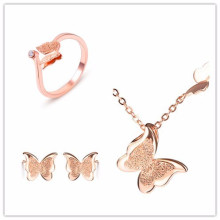 Butterfly necklace earrings rings 18k gold plated jewelry set