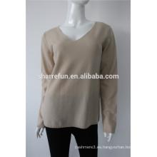 162-96 jersey de cachemira invertido con cuello en v y punto liso para mujer