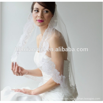 2017 New style lace bride long cathedral wedding veil wholesale