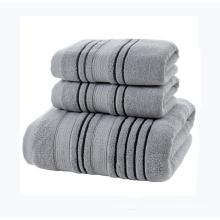 Wholesale cotton striped soft absorbent home hotel bath towel set