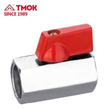 Femal * Innengewinde Platte mit Nickel- oder Naturfarbe Hochwertiger Messing Mini-Kugelhahn mit Messingschaft und PTFE